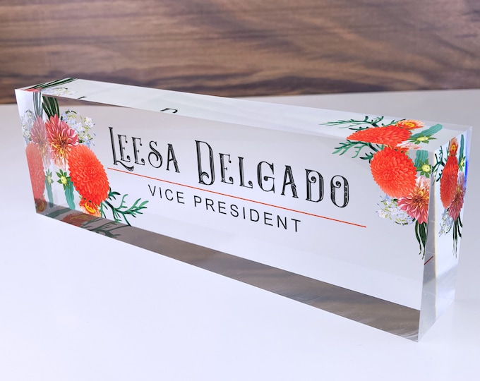 Personalized Name Plate for Desk | Autumn Flowers Design On Clear Acrylic Glass | Custom Office Decor Nameplate Sign | Personalized Gift