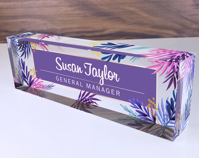 Personalized Name Plate for Desk | Purple Leaf Design On Clear Acrylic Glass | Custom Office Decor Nameplate Sign | Personalized Gift