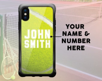iPhone X Tennis Ball Case Personalized Name, Custom Tennis Ball iPhone 7 Plus Case iPhone 8 Plus Case Sport Protective Durable Case
