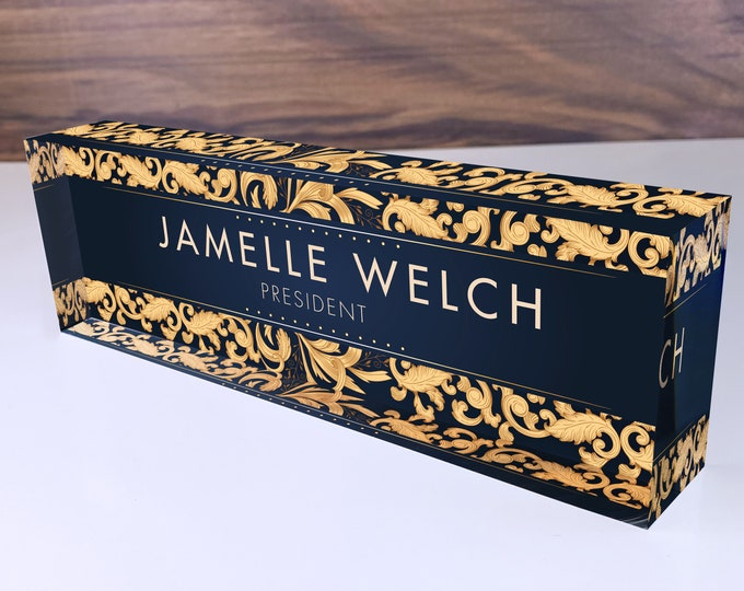 Personalized Name Plate for Desk | Gold Leaf Design On Clear Acrylic Glass | Custom Office Decor Nameplate Sign | Personalized Gift