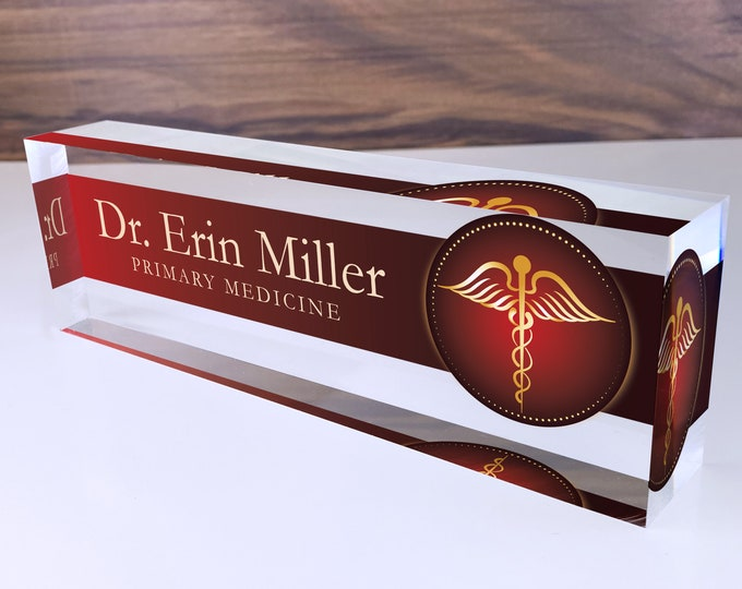 Personalized Name Plate for Desk | Medic Design On Clear Acrylic Glass | Custom Office Decor Nameplate Sign | Personalized Gift