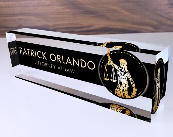 Personalized Name Plate for Desk | Lawyer Design On Clear Acrylic Glass | Custom Office Decor Nameplate Sign | Personalized Gift