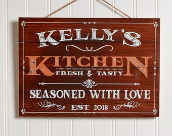 Personalized Wooden Kitchen Signs Wall Decor | Farmhouse Last Name Signs for Home | Family Sign | Housewarming Gifts | Wedding Gifts