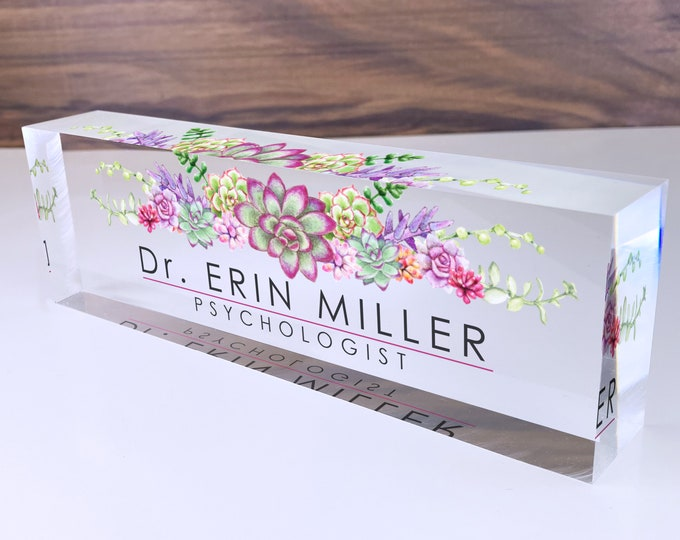 Featured listing image: Personalized Name Plate for Desk | Succulents Design On Clear Acrylic Glass | Custom Office Decor Nameplate Sign | Personalized Gift