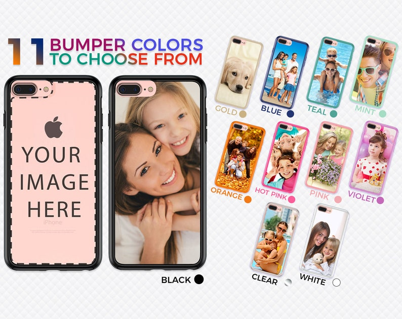 uk availability fc4f8 6a686 Personalized iPhone 8, 7, Plus Case - Create Your Own Phone Case with  CUSTOM PHOTO & BUMPER Color on our Unique Protective Hybrid Cover