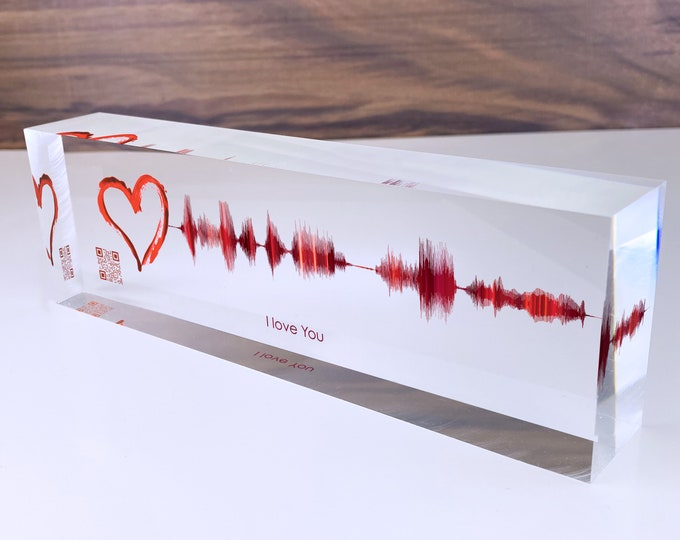 Featured listing image: Mothers Day Sound Wave Art - Custom Soundwave of your Personal Voice or Song Printed on Acrylic Glass Block