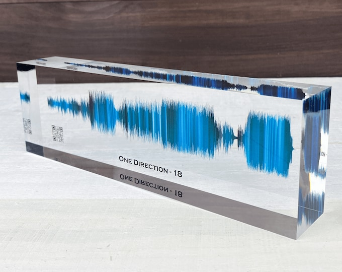 Featured listing image: Soundwave Art Customized Gifts | Any Personal Recording or Song On Acrylic Block | Unique Personalized Gift for Anniversary or Holiday