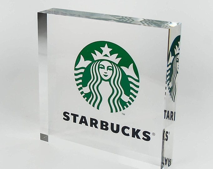 Featured listing image: Personalized Business Company Logo Desk Display Printed on Premium Clear Acrylic Glass Block Office Decor Trade Show  Unique Office Decor