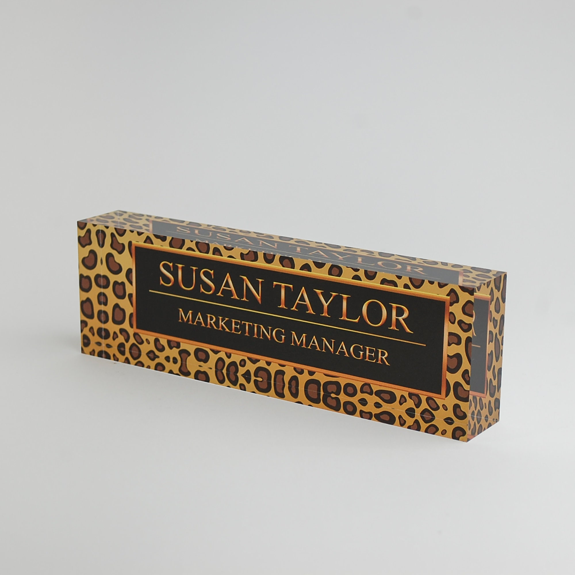 Personalized Desk Name Plate Name Title On Leopard Design