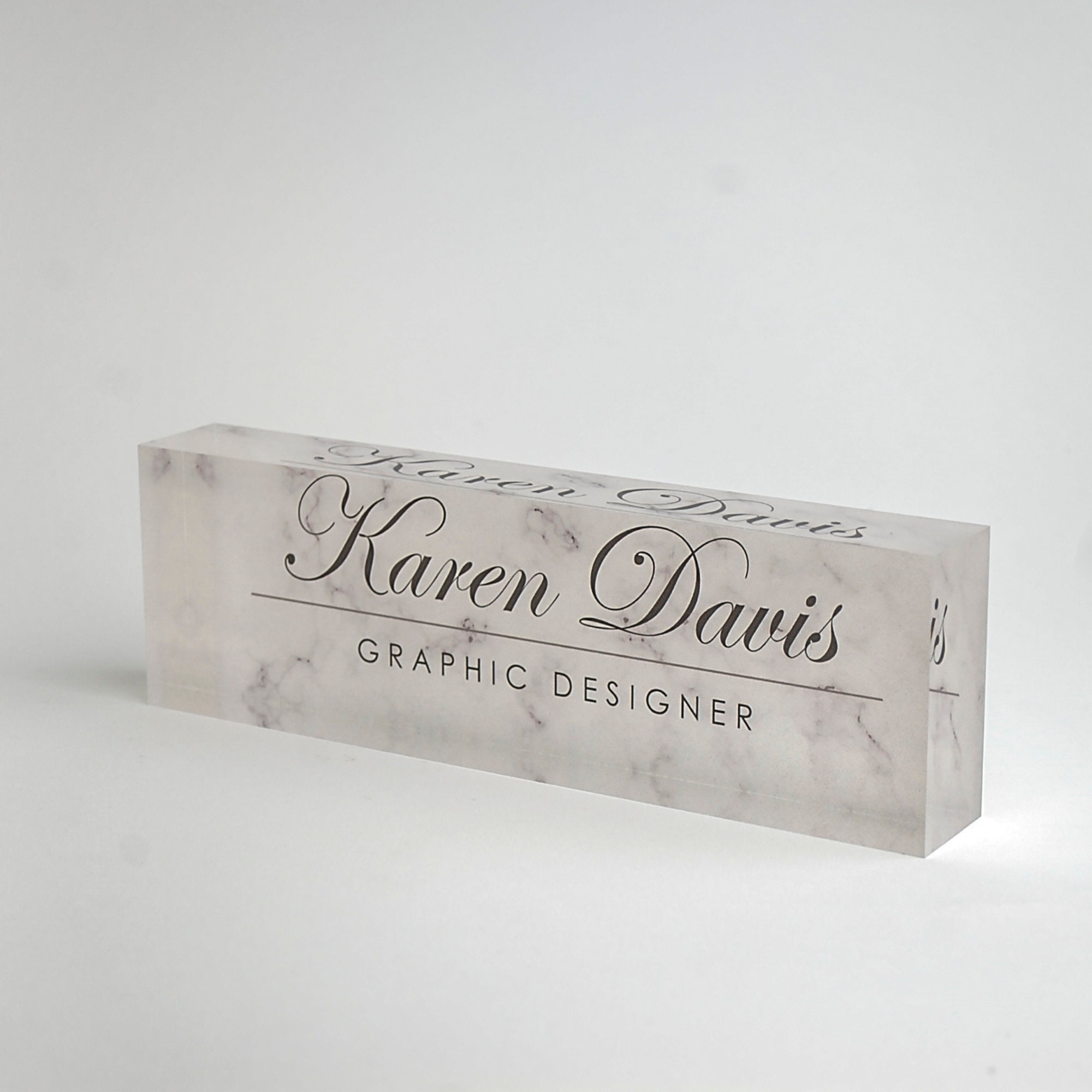 Personalized Desk Name Plate Custom Name On White Marble