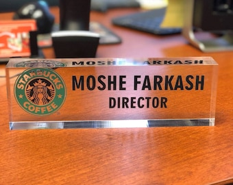 Personalized Desk Name Plate - Name, Position & Logo on Premium Clear Acrylic Glass Block, Custom Office Nameplate Unique Appreciation Gift