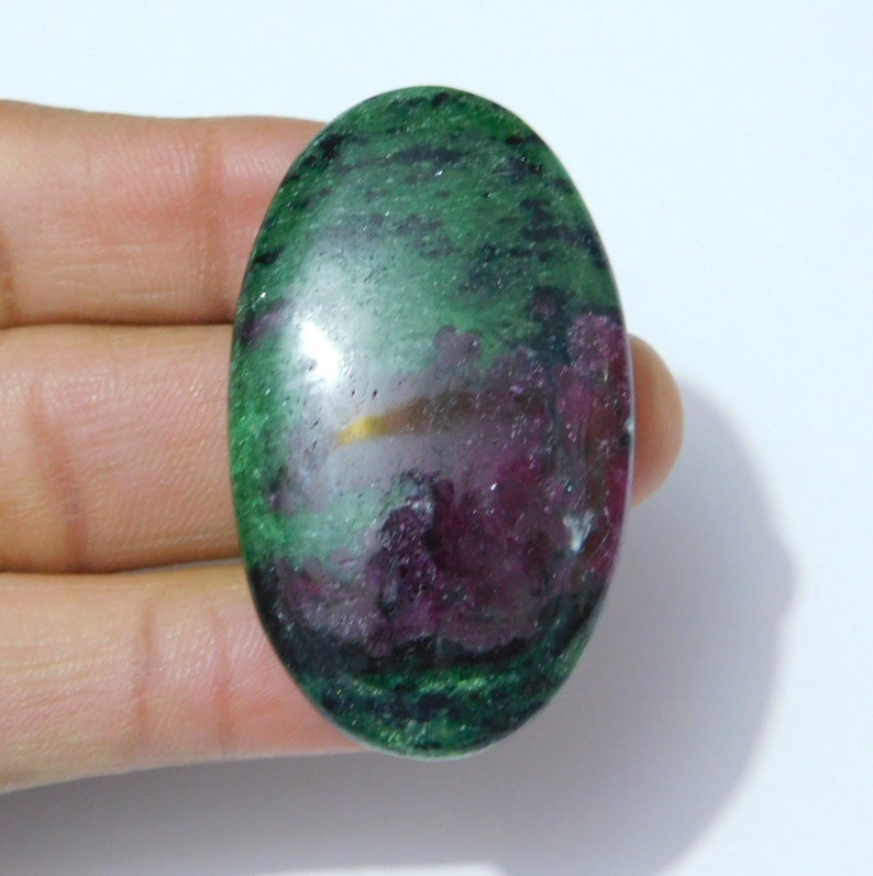 91 Ct R.Z. 04 Natural Ruby Zoisite Smooth Oval Shape Cabochon Stone 23x47x6.5mm 1 Piece