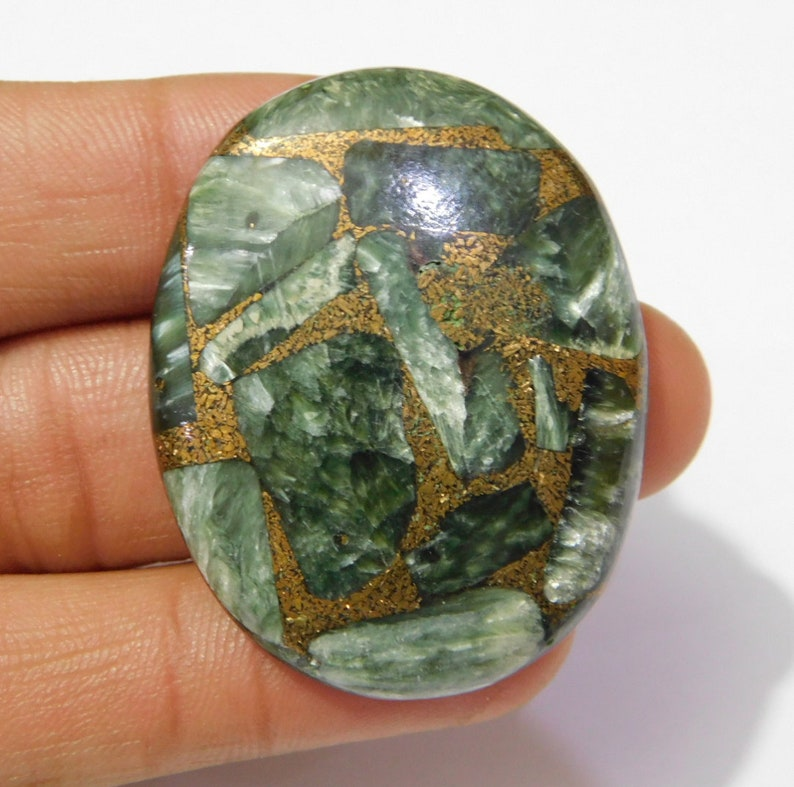 AC-51 Natural Seraphinite Smooth Oval Shape Cabochon Stone Size 32x41x6mm Approx 1 Piece 72.5 Ct