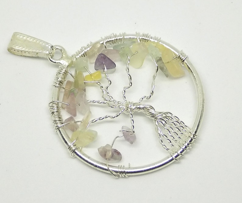7 Chakra Pendant Meditation Pendant Spiritual Pendant Healing Jewelry-Multi Fluorite Chip Gemstone Pendant Tree of Life Pendant