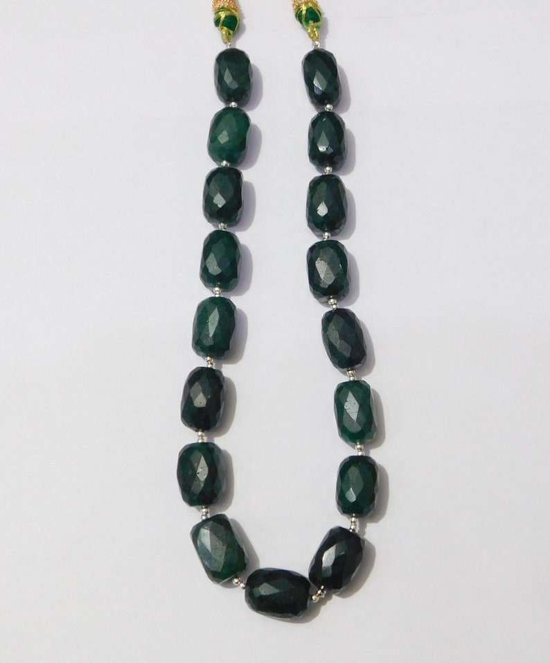Natural Green Emerald Corundum Faceted Tumble Shape Beads Strand Size 11x17mm-12x17mm 17 Pieces