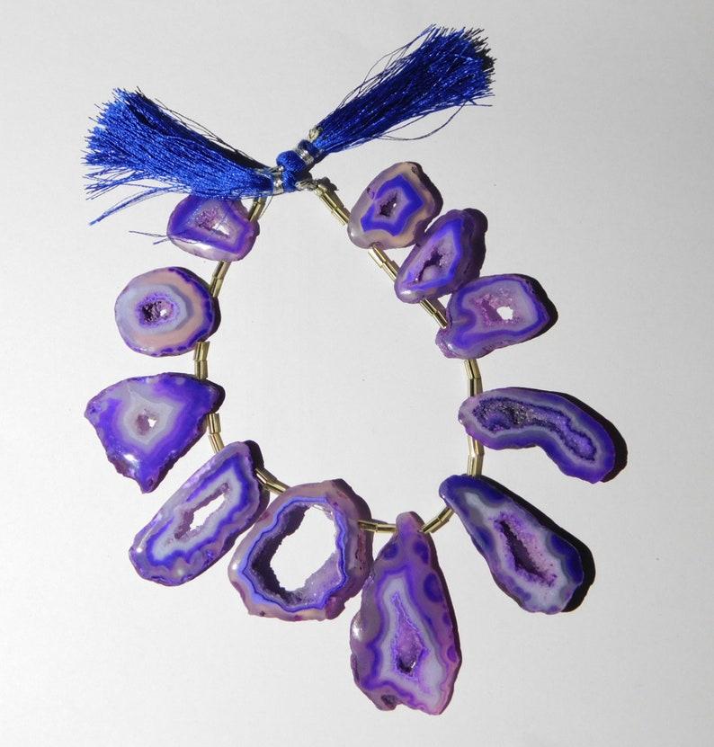 11 Pieces Natural Purple Window Druzy Agate Open Geode Druzy Cabochon Irregular Shape 18x20mm-24x47mm 58 Gm.