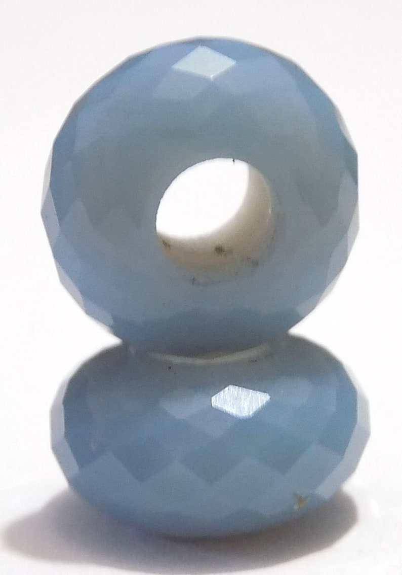 Natural Blue Opal European Bracelet Fit Charms Football Cut Beads 14x8mm 5mm Hole 5 Piece