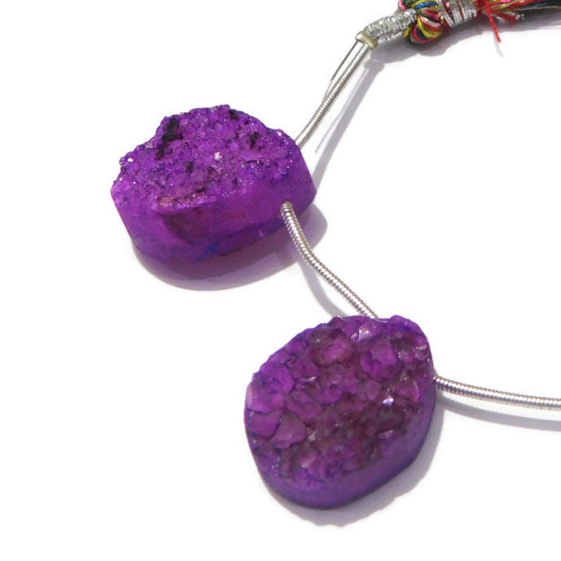 D.R.A. 19 2 Pieces Natural Purple Druzy Agate Geode Druzy Cabochon Pear Shape 16x20mm 61 Ct.