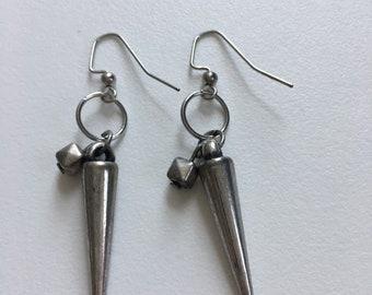 Silver Spike Dangle Earrings
