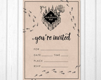 Harry potter invitation etsy harry potter marauders map printable birthday invitation filmwisefo