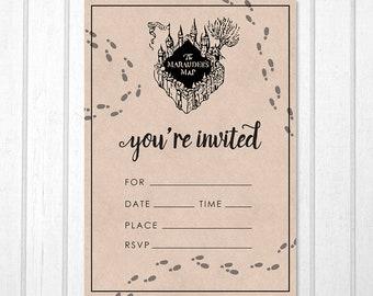 Harry Potter Marauder's Map Printable Birthday Invitation