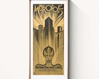 Metropolis, 1927 German expressionist science-fiction drama poster, HQ digital file ready to DOWNLOAD & PRINT instantly!