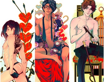 """choose: Sex Therapy by CATHEXIS 5.5"""" x 8.5"""" gold foil stamped art print BL comic yaoi manga gay queer m