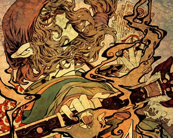 "Mononoke art print 17"" x 11"" woodblock Japanese Kusuriuri Samurai Horror Tales Bakeneko anime manga"