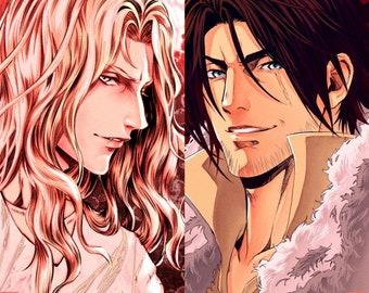 "Set of 2 - 5.5x8.5"" prints Castlevania Trevor Belmont Alucard Tepes fan art anime manga video game"