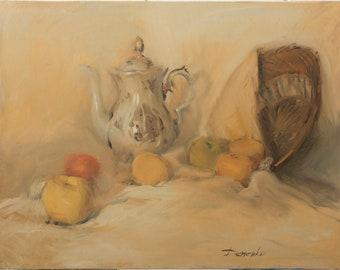 Oil painting Anatoly Demenko (b. 1980) - Still life with apple (50 x 65 cm)