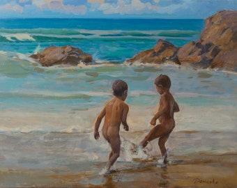 Anatoly Demenko (b. 1980) - Kids on the beach (50 x 70 cm)