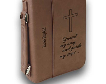 """Large Bible Cover Inscribed with personalized message and name. Zippered Leatherette with Handle to cover books and Bibles. 7"""" x 10"""""""