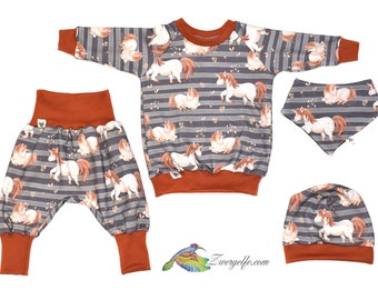 Baby Kids Set Sweat Pump Pants Sweater Cap Scarf and Other Variations, Pony, Horse