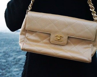 0180b0074994a1 Authentic CHANEL Flap Bag, Rare Metallic Handbag, CHANEL Handbag, Designer  Handbag