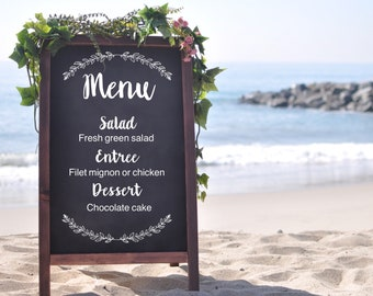 Dinner menu chalkboard sign, wedding sandwich board