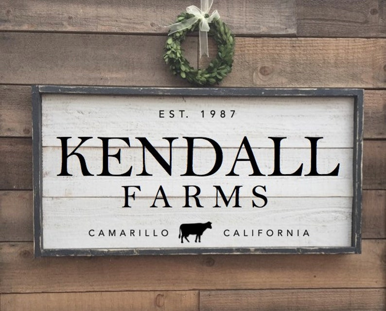 Personalized framed shiplap farmhouse sign.