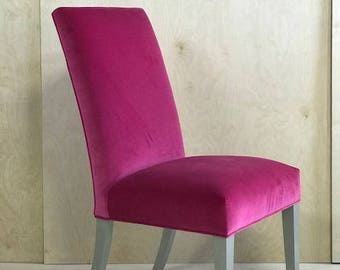 Bright Pink High Back Chair W/ Solid Velvet Fabric, Silver Painted Wood  Legs U0026 Self Pipping