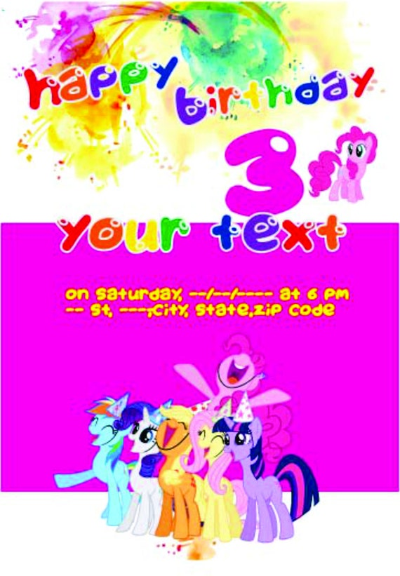 My Little Pony Birthday Invitations Printed