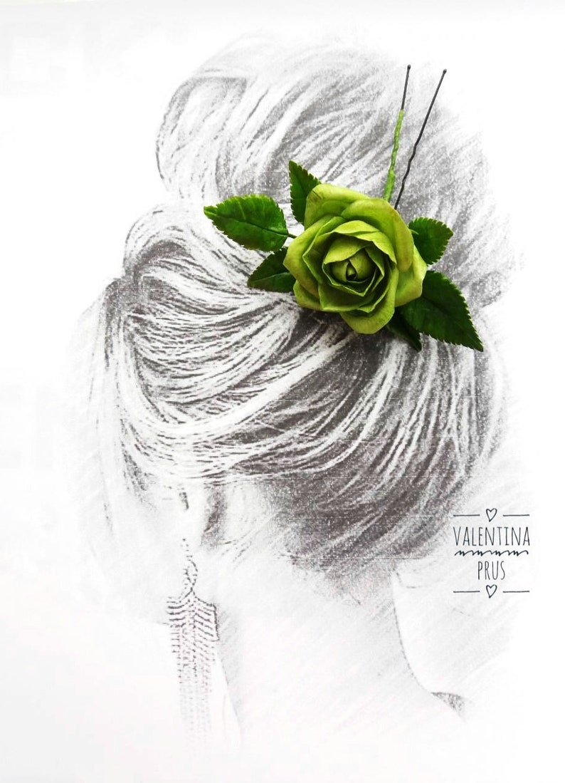 Hairpin With Green Rose Hair Ornaments Flower Hairpin Ornaments For A Wedding Hairstyle Flowers At The Hair Dry Flowers Rose Green Rose