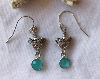 Sterling Silver and Aqua Chalcedony Bird Earrings