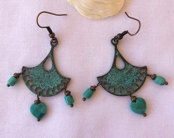 Copper Verdigris Earrings with Turquoise Heart and Drops