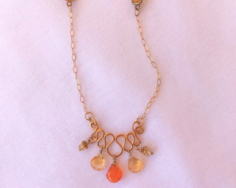 Carnelian and Citrine Gold Filled Necklace