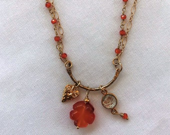 Carnelian Carved Flower Gold Filled Charm Necklace with Matching Earrings