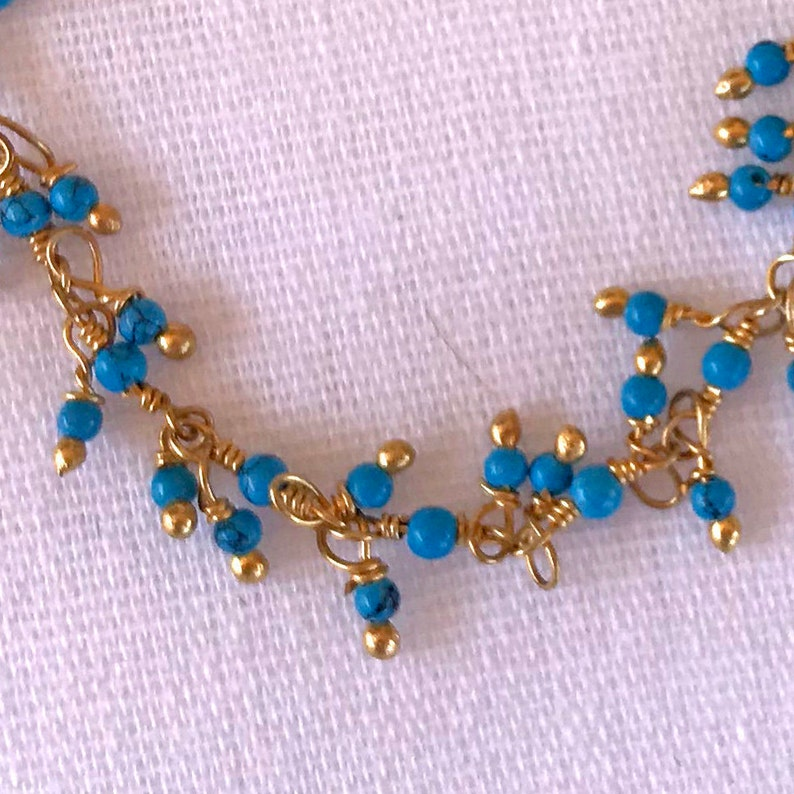Delicate Turquoise Drops in Gold Filled Necklace