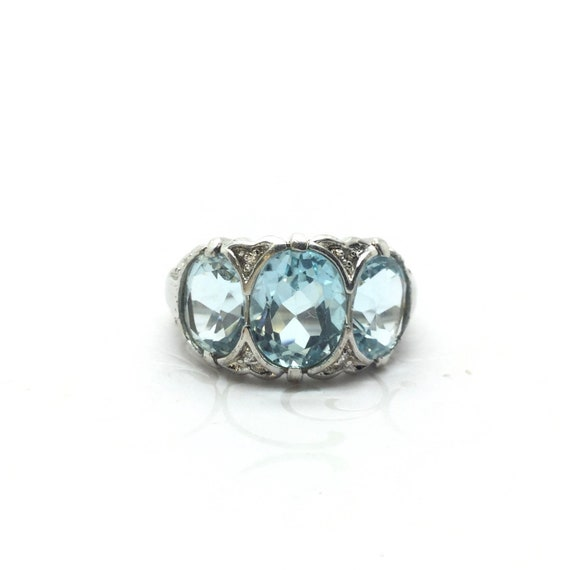 Vintage Blue Topaz Ring ~ Victorian Style Ring ~ S