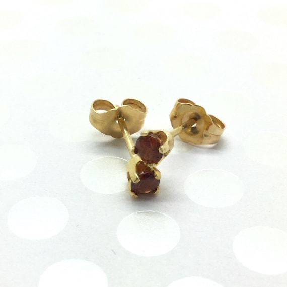 Garnet Stud Earrings ~ Minimalist Earrings ~ Daint