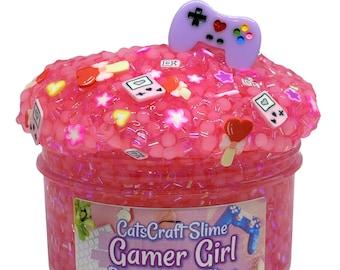 "Bingsu Slushie Slime ""Gamer Girl"" SCENTED pink crystal clear bingsu and slushee bead crunchy ASMR With Charm"