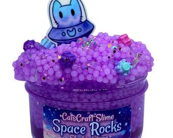 "Slushie Slime ""Space Rocks"" SCENTED purple crystal clear slushee bead crunchy ASMR With Charm"