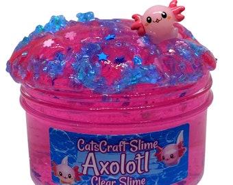"Clear Slime ""Axolotl"" SCENTED Stretchy Glitter Slime ASMR"
