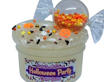 """Clear Slime """"Halloween Party"""" SCENTED Stretchy Glitter Slime ASMR 6 8 oz Sizes"""
